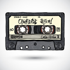 Doodle style cassette tape vector illustration
