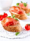 Jamon. Slices of Bread with Spanish Serrano Ham Served as Tapas