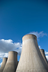 Cooling Towers of a coal fired power station against blue sky