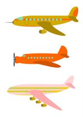 Samoloty pasażerskie w stylu retro.