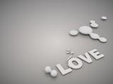 Metallic love symbol in a stylish grey background