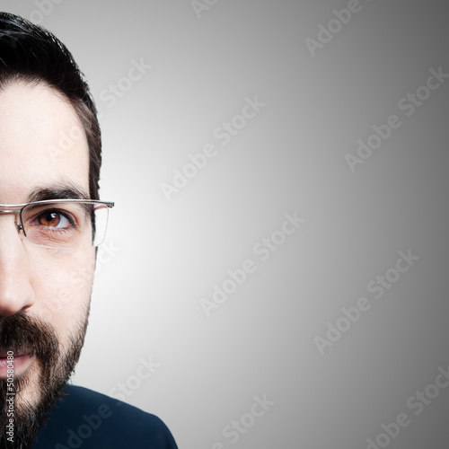 half face elegant bearded success business man