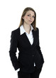 Portrait of a severe business woman on white background