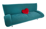 Green sofa with red heart shaped pillow lying on the couch