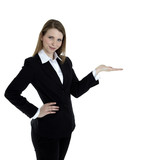 Business woman presenting something on the right