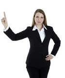 Business woman points at something on the top
