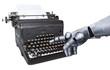 Roboterhand tippt auf alter Schreibmaschine