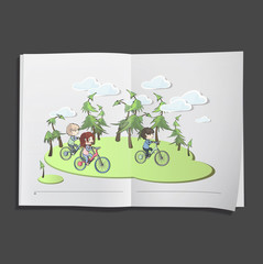 kids on bike printed on white book,