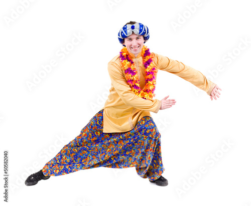 man doing yoga exercise with pointing gesture
