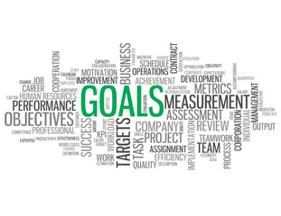 """GOALS"" Tag Cloud (performance targets objectives team success)"