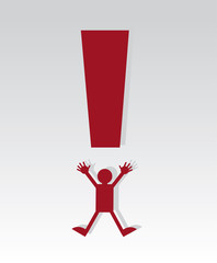 Red exclamation mark figure jumping