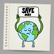 Save the earth design template. Vector, EPS10