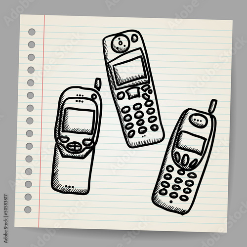 Old mobile phone set. Hand drawing cartoon sketch illustration