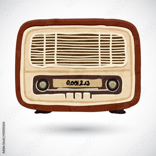 Grunge vintage wooden radio - 50583636