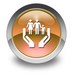 "Orange Glossy Pictogram ""Social Services"""
