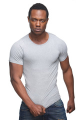 Handsome African American Man Posing on White Background