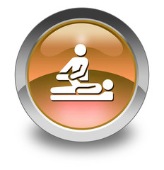 "Orange Glossy Pictogram ""Physical Therapy"""