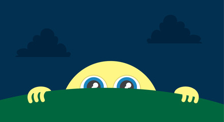 Moon character peeking above the grass