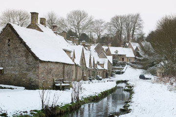 Cotswold village of Bibury and Arlington Row in winter ,England