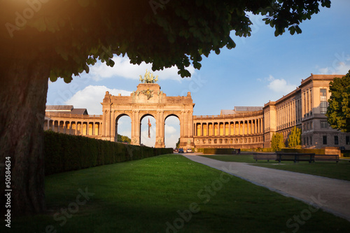 The Triumphal Arch in Cinquantennaire Parc in Brussels , Belgium