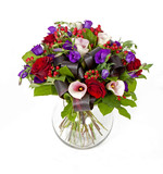 Fototapety bouquet of pink, red and violet flowers isolated on white