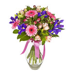 Fototapety bouquet of pink and violet flowers isolated on white