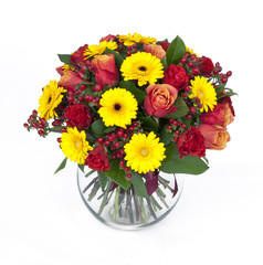 bouquet of roses and gerberas in vase isolated on white