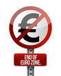 road traffic sign with a euro zone end