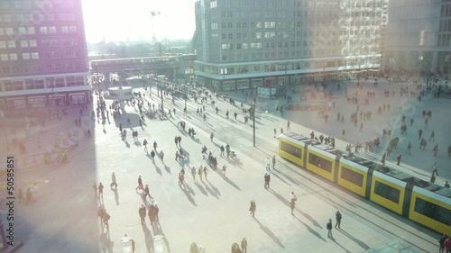 people population public transportation city street traffic HD