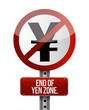 road traffic sign with a yen zone end