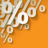 % Prozent Gelb Papier Ecke Hintrergrund