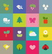 Colorful nature. Icons set. Vector illustration