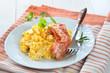 Deftiges Frühstück mit Rühreier und Speck