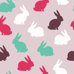 Easter seamless pattern with cute bunnies