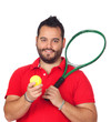 Bearded young men with tennis racket