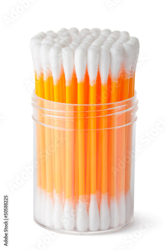 Cotton swabs in transparent plastic box