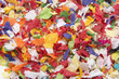 Closeup of confetti on white background