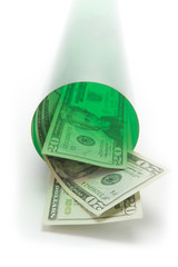 Concept photo of money going down a green tube or tunnel