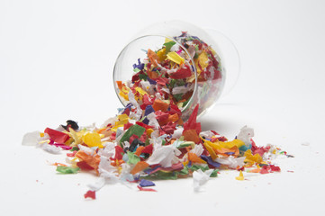 Concept photo wine glass confetti the party is over