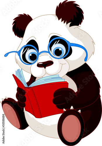 Deurstickers Beren Cute Panda Education