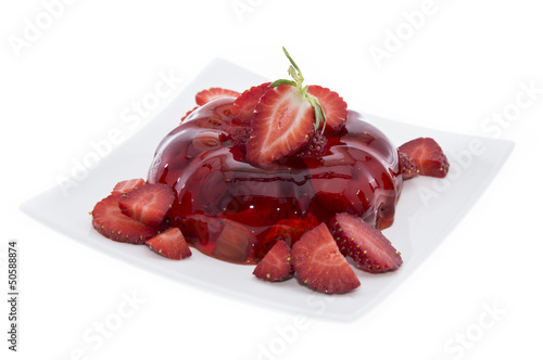 Strawberry Jello on white