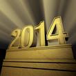 Die angestrahlte Zahl 2014 in gold