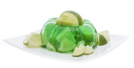 Portion of Lime Jello on white