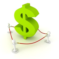 green dollar sign behind of red rope barrier