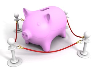 Pink piggy money bank behind of red rope barrier