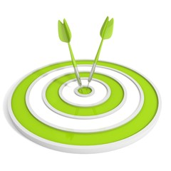 Green target and two dart arrows on white background