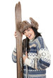 cheerful woman in winter hat holding old wooden skis