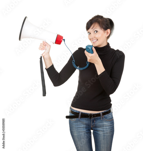 young woman with megaphone looking at the camera