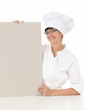 female cook with empty whiteboard