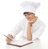 lady cook with writing on clipboard